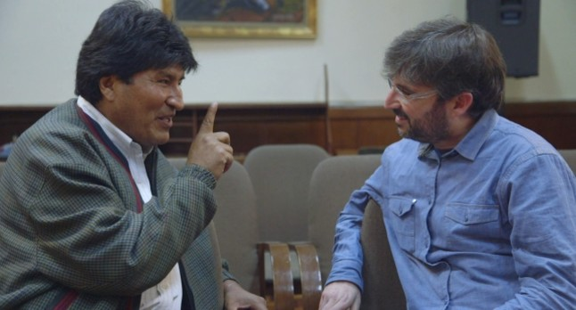 Évole con el presidente de Bolivia, Evo Morales.