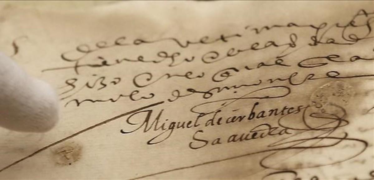 Firma de Miguel de Cervantes reencontrada en la biblioteca histórica de la Universidad de Sevilla.