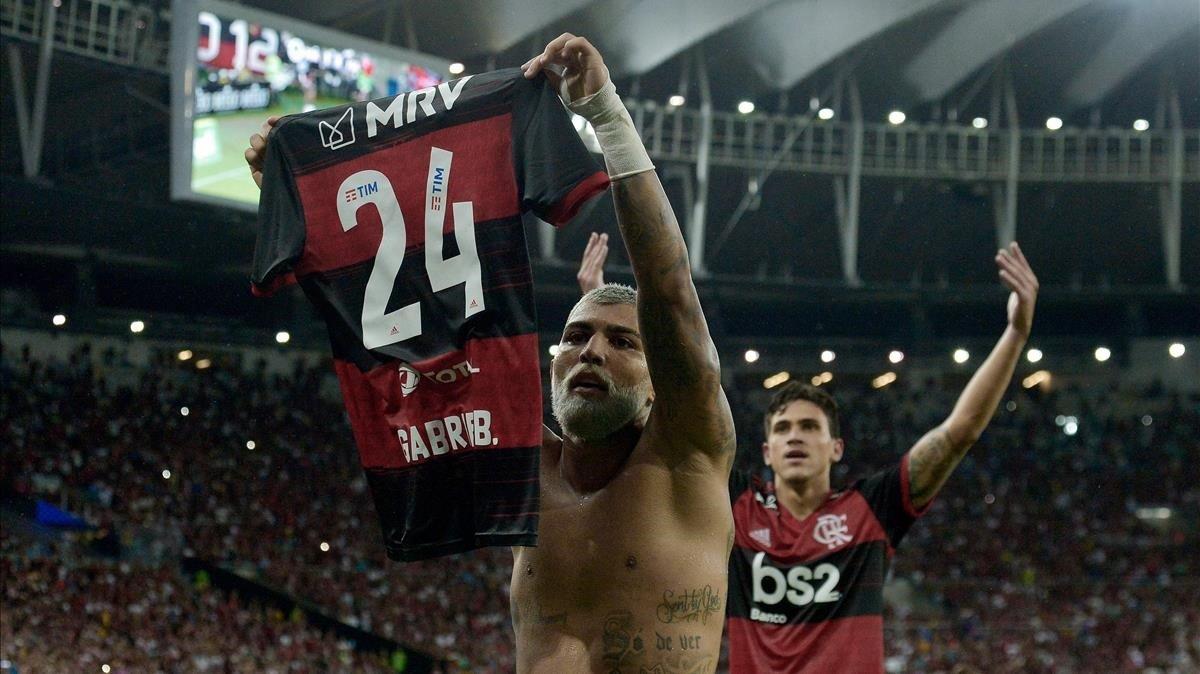 Gabriel Barbosa celebra un gol del Flamengo en uno de los últimos partidos en Maracaná el pasado mes de febrero.