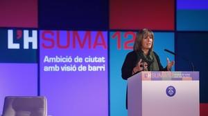 Núria Marín, durante su conferencia anual sobre LHospitalet.