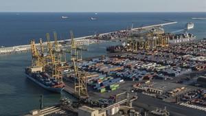 El puerto deBarcelona.