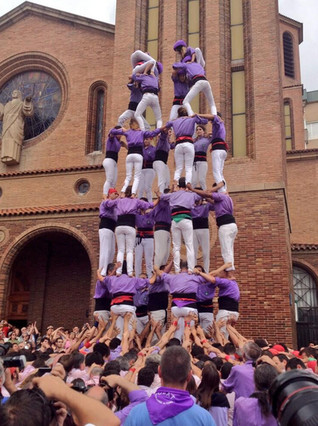 Imatge del set de set dels Castellers de Cornellà en la Diada de Corpus 2014.