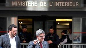 Jean-Luc Melénchon tras declarar durante cinco horas.
