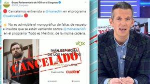 """Vox cancela una entrevista en 'Cuatro al día' y acusa a 'Todo es mentira' de """"insultar"""" a Rocío Monasterio"""