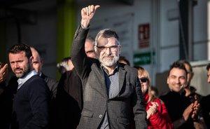 Jordi Cuixart, a su llegada a la empresa Aranow, en Sentmenat.