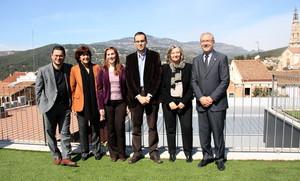 L'alcalde de Sabadell, Joan Carles Sánchez; l'alcaldessa de Barberà, Ana del Frago; l'alcaldessa de Montcada, Maria Elena Pérez; l'alcalde de Castellar, Ignasi Giménez; la presidenta del Consorci de Turisme del Vallès Occidental, Olga Olivé, i l'alcalde de Ripollet, Juan Parralejo.