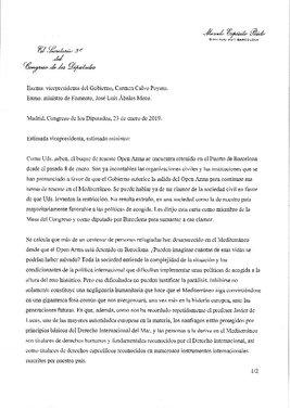 Carta del diputado de En Comú PodemMarcelo Expósito a la vicepresidenta del Gobierno, Carmen Calvo, y al ministro de Fomento, José Luis Ábalos
