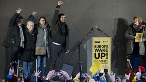 Los exconsellers Lluís Puig, Clara Ponsatí (ahora en Escocia), Meritxell Serret y Toni Comín, el pasado diciembre, en Bruselas.