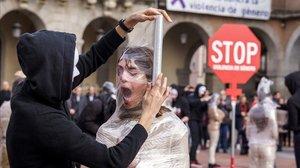 Manifestación celebrada en Ávila el 25N de 2019 con motivo del Día Internacional de la Eliminación de la Violencia contra la Mujer.