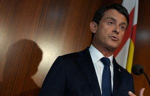Manuel Valls, en rueda de prensa en el Ayuntamiento de Barcelona.