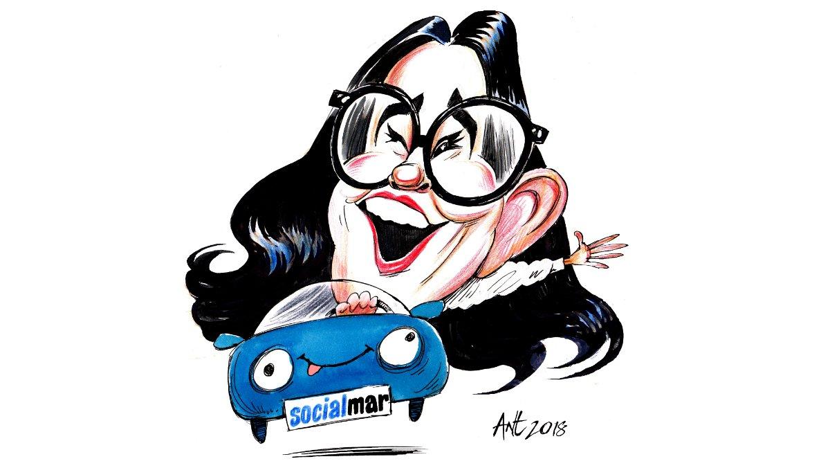 Caricatura de la cofundadora de Social Car, la emprendedora Mar Alarcón