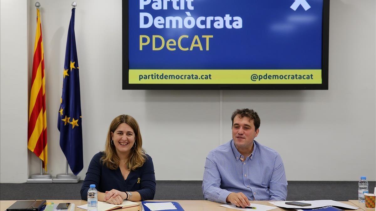 Marta Pascal y David Bonvehí, en una reunión de la ejecutiva del PDECat.