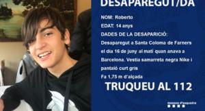 Mensaje de los Mossos pidiendo colaboración para localizar al joven desaparecido.