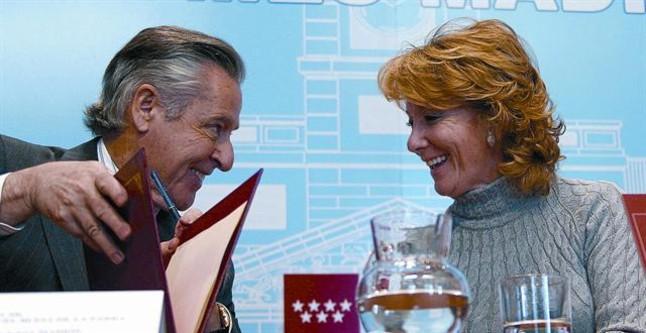 Miguel Blesa y la expresidenta de la Comunidad de Madrid, Esperanza Aguirre, en el 2008.