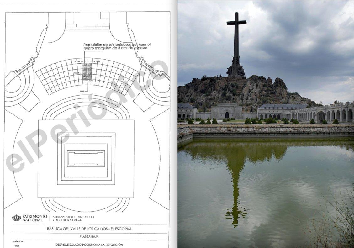 A la izquierda, uno de los planos de ejecución que manejan los técnicos de Patrimonio Nacional para exhumar a Franco. A laderecha, la Cruz de los Caídos, vista desde la abadía benedictina que la custodia.