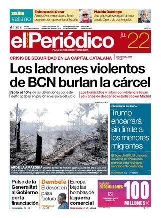 La portada de EL PERIÓDICO del 22 de agosto del 2019