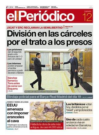 La portada de EL PERIÓDICO del 12 de diciembre del 2019.