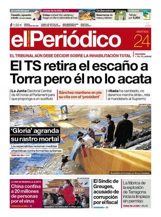 La portada de EL PERIÓDICO del 24 de enero del 2020.