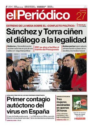 La portada de EL PERIÓDICO del 27 de febrero del 2020.