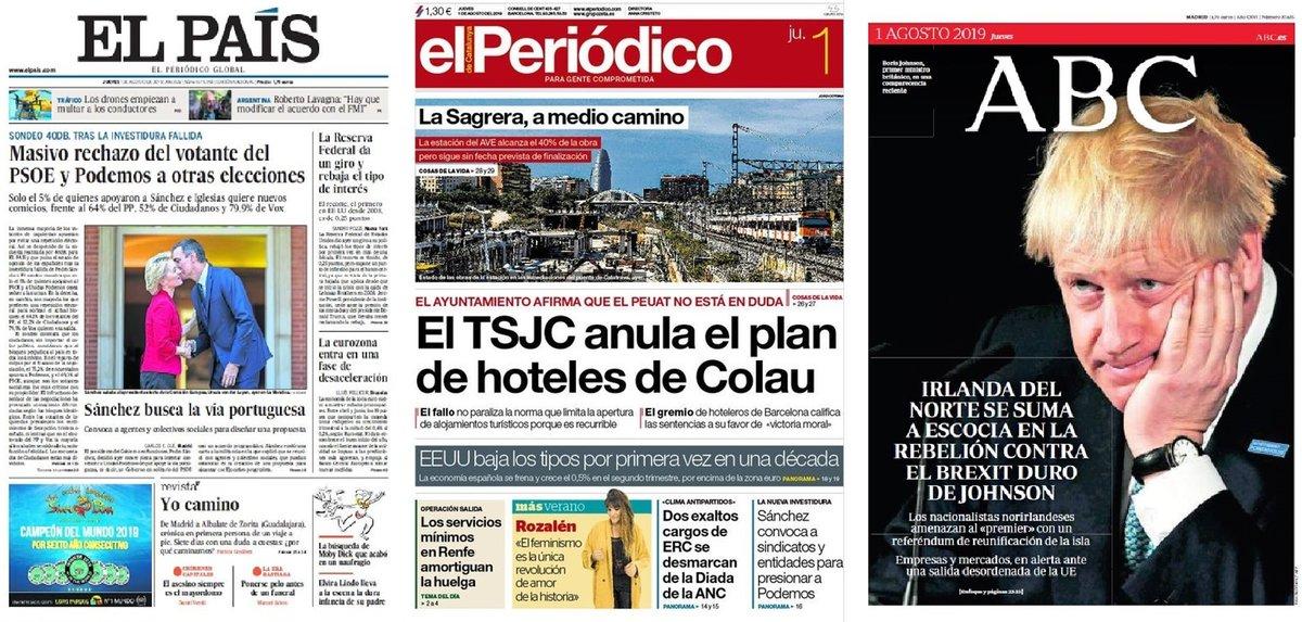 Prensa de hoy: Las portadas de los periódicos del jueves 1 de agosto del 2019