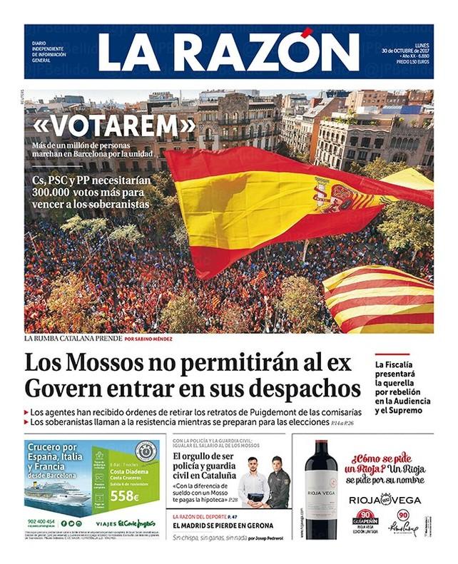 Los Mossos impedirán a los miembros del Govern destituido entrar en sus despachos, según 'La Razón'