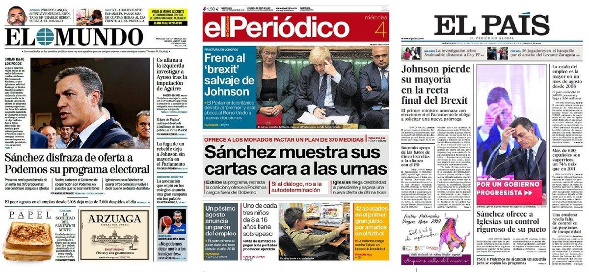 Prensa de hoy: Las portadas de los periódicos del miércoles 4 de septiembre del 2019