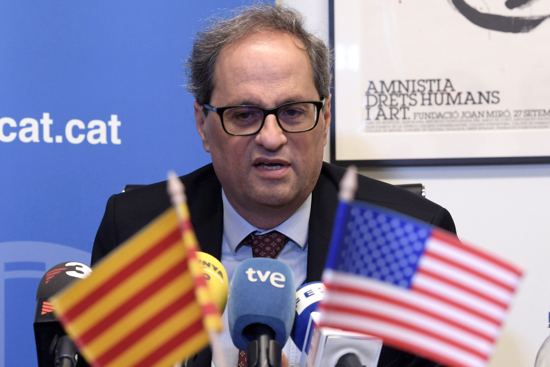 El presidentde la Generalitat de Catalunya, Quim Torra, en la sede de Acció, la oficina comercial de la Genaralitat de Cataluña en Washington.