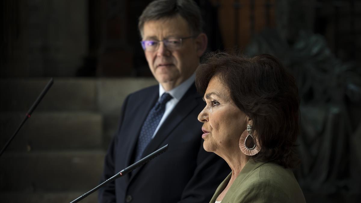 La vicepresidenta del Gobierno, Carmen Calvo, y el president de la Generalitat, Ximo Puig, han cerrado los detalles de la acogida al Aquarius