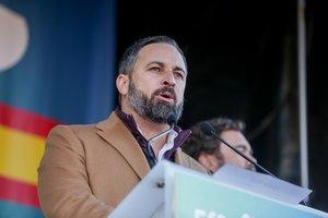 12/01/2020 El presidente de Vox, Santiago Abascal, durante la concentración convocada por la plataforma 'España Existe' frente al Ayuntamiento de la capital, en Madrid (España) a 12 de enero de 2020.