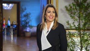 La presidenta en funciones de la Junta de Andalucía, Susana Díaz, en la foto oficial de su discurso de fin de año.