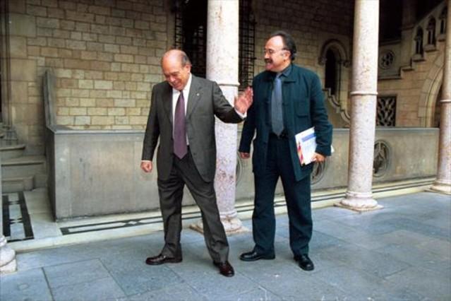 Pujol y Carod-Rovira, en el Palau de la Generalitat, en 1999.