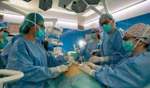 Un quirófano en el Hospital Clínic.