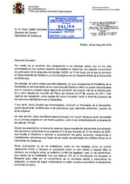 Respuesta del Gobierno por la negativa a publicar el nombre de los 'consellers'