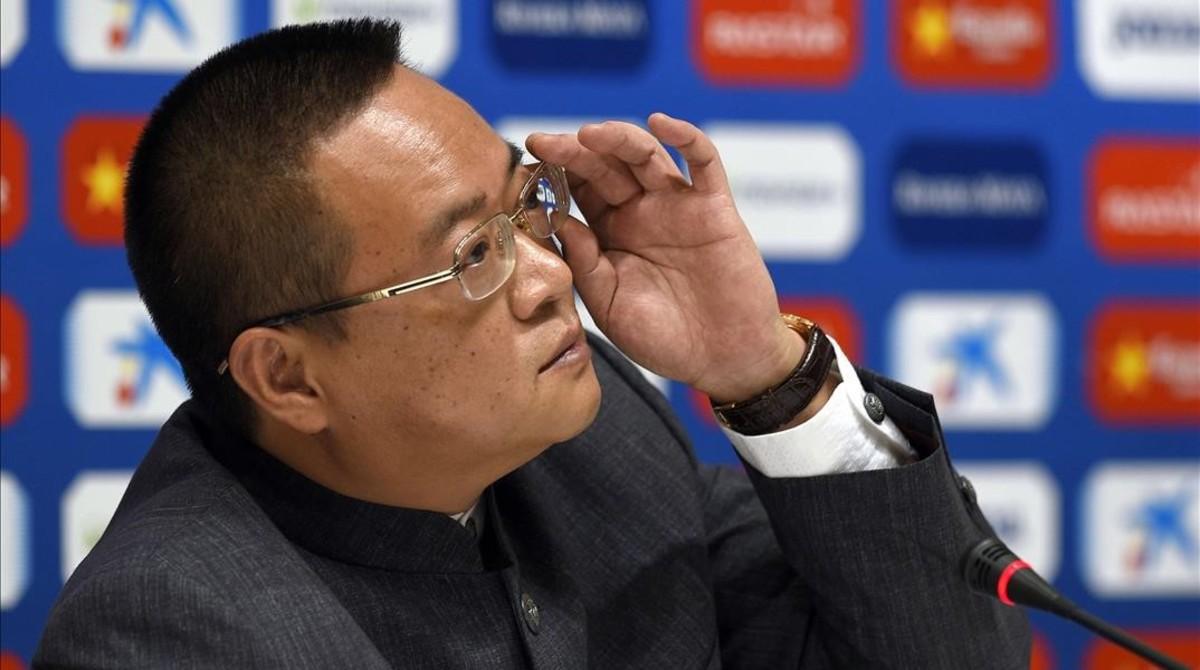 Chen Yansheng, el pasado enero en la sala de prensa del estadio de Cornellà-El Prat.