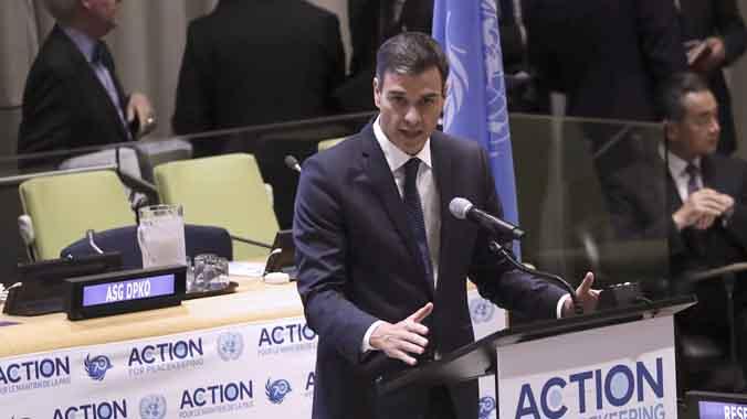 Sánchez, durante su intervención en la sede de Naciones Unidas.