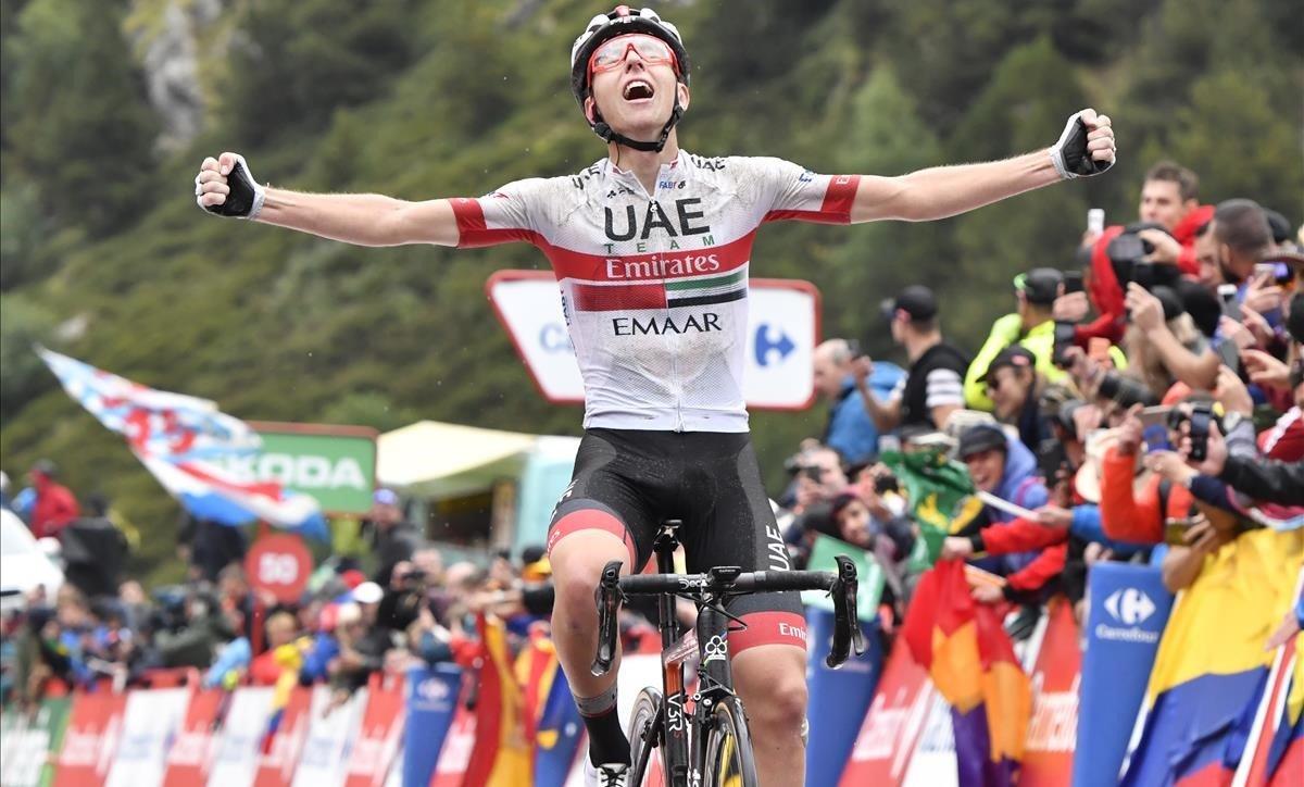 Tadej Pogacar, en su primera victoria en la Vuelta, en Els Cortals d'Encamp (Andorra).