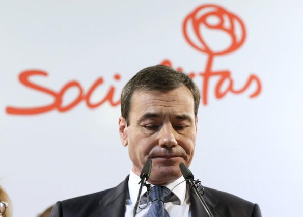 Tomás Gómez, durante su comparecencia de este miércoles, 11 de febrero, tras su destitución por parte de Pedro Sánchez.