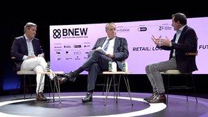 Jaume Miquel (Tendam), José Luis Nueno (IESE) y Toni Ruiz (Mango), en el BNEW.
