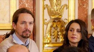 El líder de Podemos, Pablo Iglesias, y la presidenta de Cs, Inés Arrimadas, en la celebración del Día de la Constitución el pasado diciembre