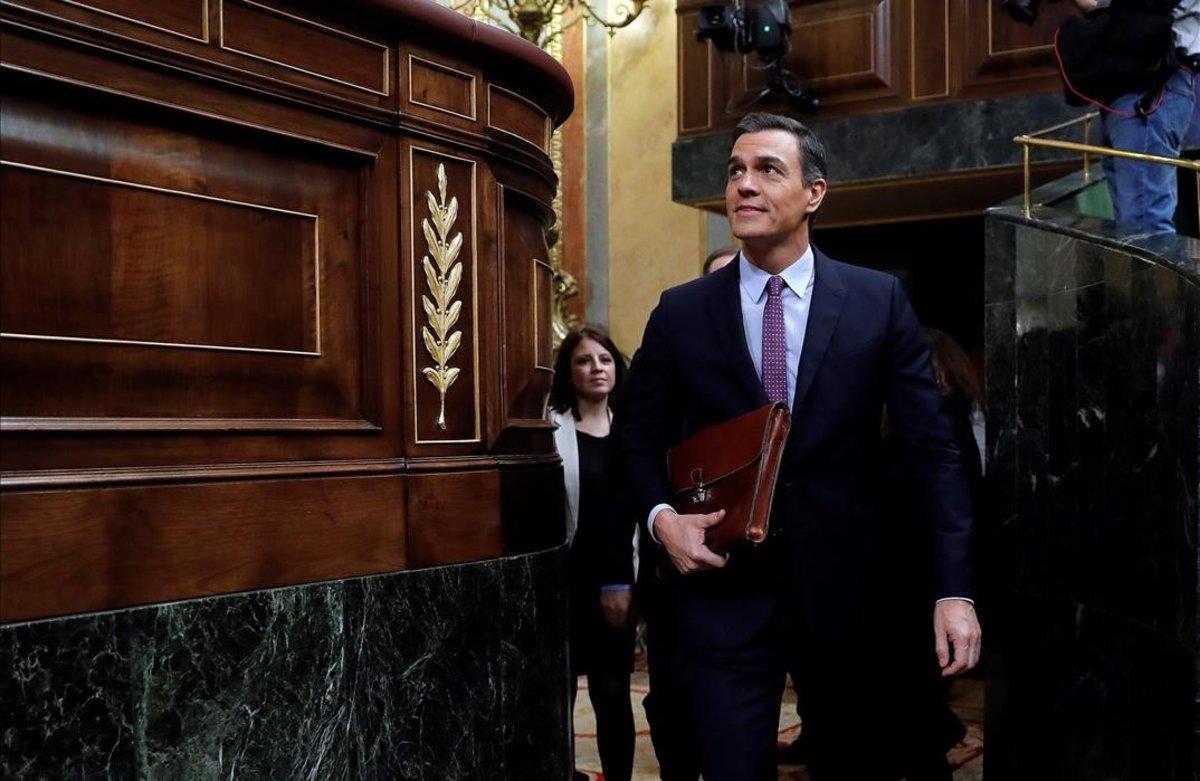 Pedro Sánchez, durante la sesión de investidura.