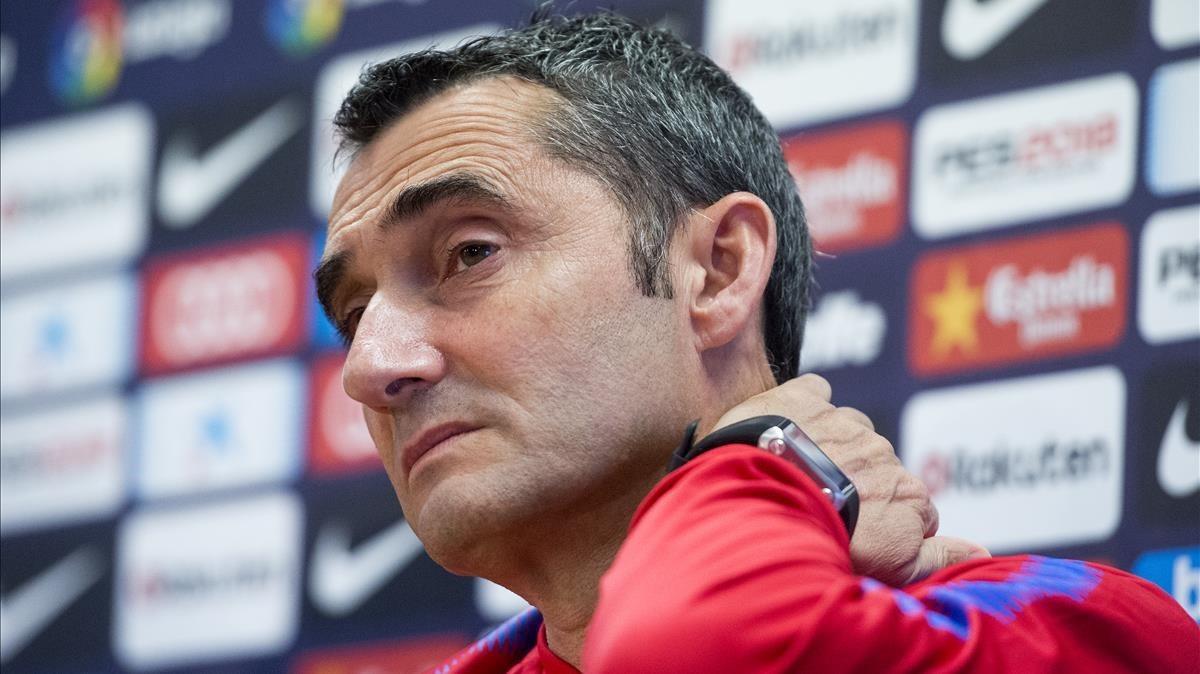 Valverde, en la rueda de prensa previa a la visita al Sánchez Pizjuán para enfrentarse al Sevilla.