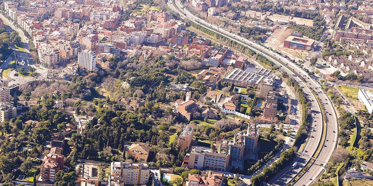 Vista aérea de Esplugues de Llobregat.