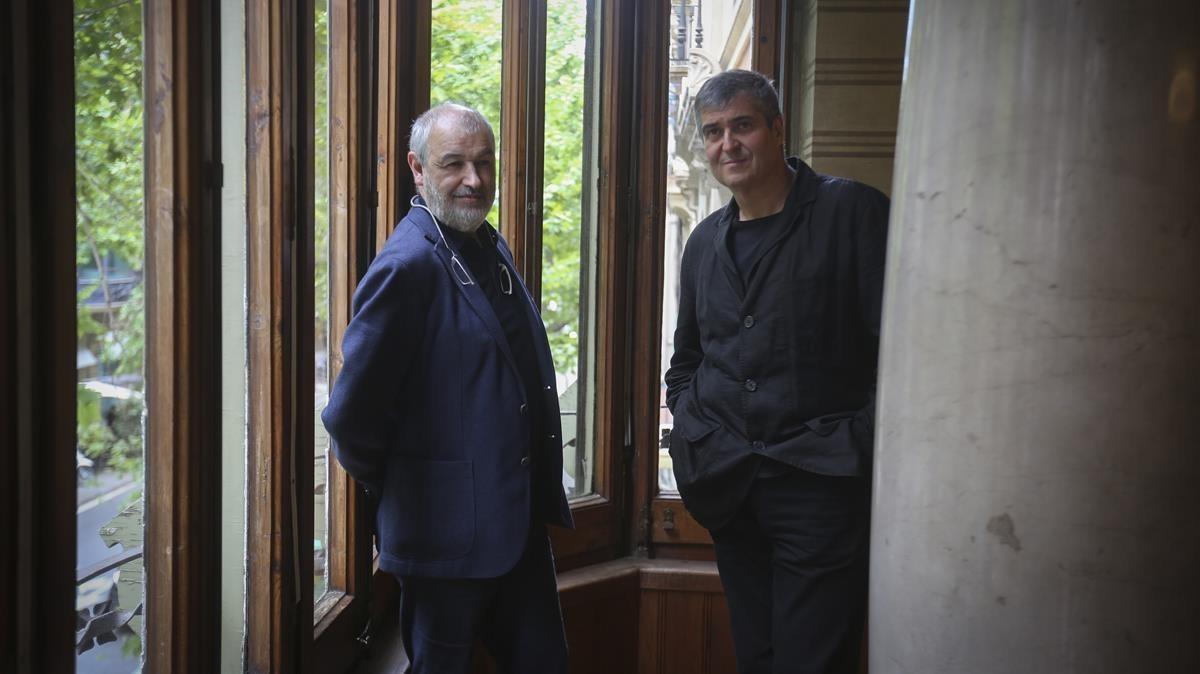 Ramon Vilalta y Rafael Aranda, ayer durante la presentación del Pabellón Catalán de la Bienal de Venecia.