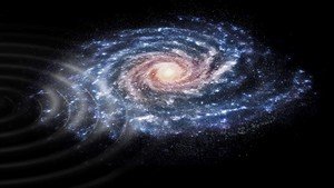 Interpretación artística de la perturbación en las velocidades de las estrellas de nuestra galaxia