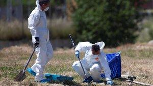 Miembros de la policía científica de los Mossos buscan pruebas en el solar de El Prat donde apareció el cadáver.