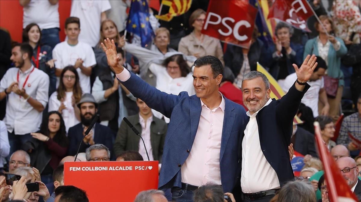 Pedroo Sánchez y Jaume Collboni, durante el acto de campaña de este jueves.
