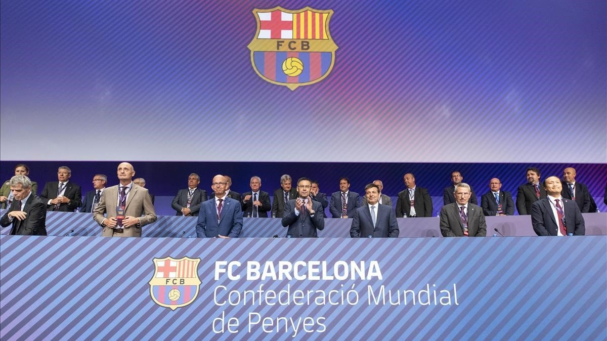 Encuentro mundial de las peñas del Barça, presidido por Josep Maria Bartomeu.