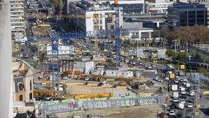 El paro de las obras de las Glòries debido a la emergencia sanitariaha permitido ahorrar al ayuntamiento en gasto mensual.