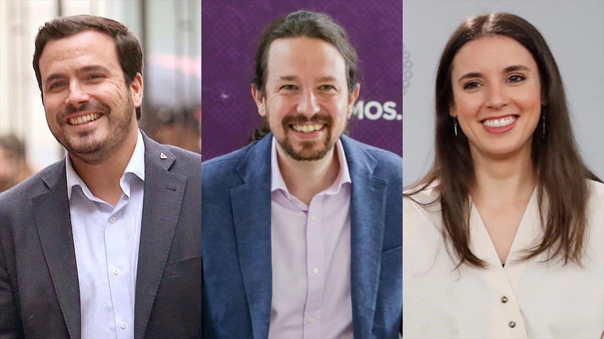 El vicepresidente, Pablo Iglesias, entre el ministro de Consumo, Alberto Garzón, y la titular de Igualdad, Irene Montero.