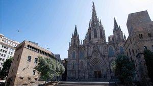 La plaza de la Catedral de Barcelona, vacía, este jueves por la mañana.